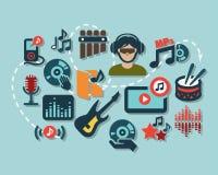 Icônes plates de musique Photo libre de droits