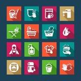 Icônes plates de nettoyage Images stock