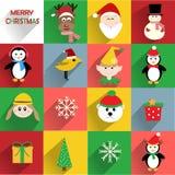 Icônes plates de Noël Photographie stock