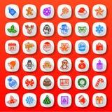 Icônes plates de Noël de style Image libre de droits