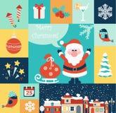 Icônes plates de Noël réglées Image stock