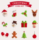 Icônes plates de Noël sur le blanc Ensemble de vecteur Image libre de droits