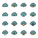 Icônes plates de nuage de vecteur réglées Image stock