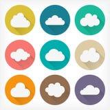 Icônes plates de nuages de vecteur réglées Conception matérielle Illustration Libre de Droits