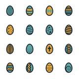 Icônes plates de Pâques de vecteur réglées Photographie stock
