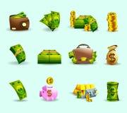 Icônes plates de paiement en espèces réglées illustration stock