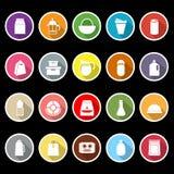Icônes plates de paquet de nourriture de variété avec la longue ombre Images libres de droits