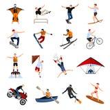 Icônes plates de personnes extrêmes de sports Image stock