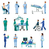 Icônes plates de personnes professionnelles médicales réglées illustration libre de droits