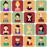 Icônes plates de personnes réglées Ensemble plat d'icônes femelles Ensemble plat d'icônes masculines Illustration Stock