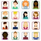 Icônes plates de personnes réglées Ensemble plat d'icônes femelles Ensemble plat d'icônes masculines Illustration de Vecteur