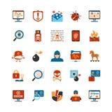Icônes plates de pirate informatique de conception illustration stock