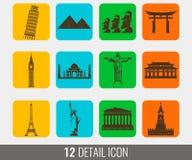 Icônes plates de points de repère du monde réglées Vecteur Photos stock