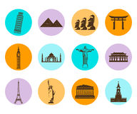 Icônes plates de points de repère du monde réglées Vecteur Photos libres de droits