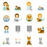 Icônes plates de pratique en matière vétérinaire de clinique réglées Image stock