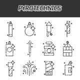 Icônes plates de pyrotechnie réglées illustration de vecteur