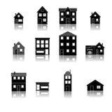 Icônes plates de rétro rue à la mode moderne de maison réglées Image libre de droits