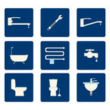 Icônes plates de salle de bains réglées sur le fond bleu Illustration de vecteur Photos libres de droits