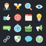 Icônes plates de SEO Images libres de droits