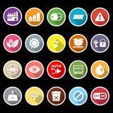 Icônes plates de signe électronique avec la longue ombre Images libres de droits