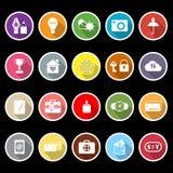 Icônes plates de signe d'assurance avec la longue ombre Image libre de droits