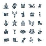Icônes plates de silhouette de vecteur de symboles de Noël réglées Images stock