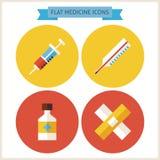 Icônes plates de site Web de médecine réglées Images libres de droits