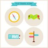Icônes plates de site Web de voyage réglées Images libres de droits