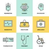 Icônes plates de soins de santé et de médecine réglées Photographie stock