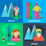 Icônes plates de sport d'hiver Photos libres de droits