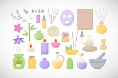 Icônes plates de station thermale et d'aromatherapy réglées illustration libre de droits