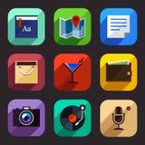 Icônes plates de style Images stock