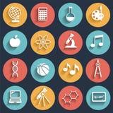 Icônes plates de style d'écoliers réglées Photographie stock libre de droits
