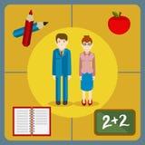 Icônes plates de style d'une paire de professeurs avec une partie du theachin Image stock