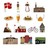 Icônes plates de style du Danemark réglées Photo libre de droits