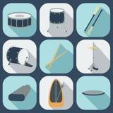 Icônes plates de tambour Vecteur Images stock