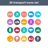 Icônes plates de transport réglées Images stock