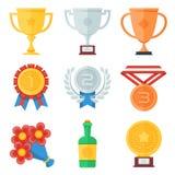 Icônes plates de trophée et de récompenses réglées Images stock