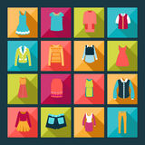 Icônes plates de vêtements réglées - illustration Photo stock