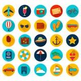 Icônes plates de vacances d'été avec la longue ombre Vecteur Photos libres de droits