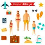 Icônes plates de vacances d'été Vecteur Photo libre de droits