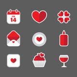 Icônes plates de Valentine Illustration Libre de Droits