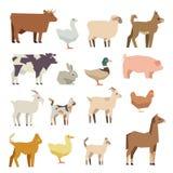 Icônes plates de vecteur d'animaux familiers et d'animaux de ferme réglées Photo stock