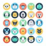 Icônes plates 4 de vecteur d'avatars animaux images stock