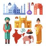 Icônes plates de vecteur d'Inde avec les points de repère nationaux pour le concept de déplacement illustration libre de droits