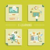 Icônes plates de vecteur de conception pour l'éducation en ligne Image stock