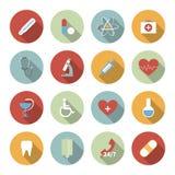 Icônes plates de vecteur médical réglées Photo libre de droits