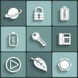 Icônes plates de vecteur universel Images stock