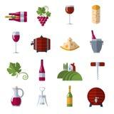 Icônes plates de vin réglées Photos stock