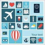 Icônes plates de voyage illustration libre de droits